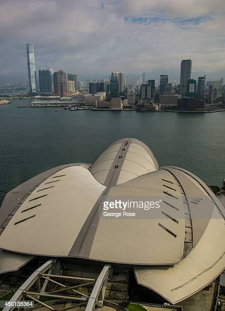 Kowloon in the distance and the Convention Exhibition Centre located in the Wan Chai District are viewed on May 24 in Hong Kong China Viewed as the...