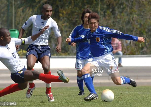 Kozawa Ryuki and Carlos Graca during the Under 20 Campos Verdes Tournament game between Japan and Cape Verde in Castro Verde Portugal on March 24 2007