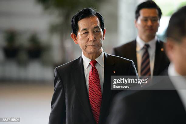 Kozo Yamamoto the newly appointed minister of regional revitalization for Japan arrives at the official residence of Japan's Prime Minister Shinzo...