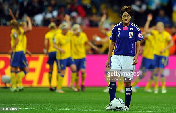 Kozue Ando of Japan looks dejected after Joseline Oeqvist of Sweden scored the first goal during the FIFA Women's World Cup Semi Final match between...