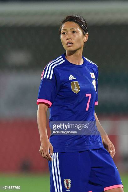 Kozue Ando of Japan looks on during the MSAD Nadeshiko Cup 2015 women's soccer international friendly match between Japan and New Zealand at Kagawa...