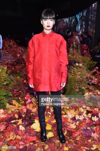 Kozue Hakimoto attends the Moncler Gamme Rouge show as part of the Paris Fashion Week Womenswear Fall/Winter 2017/2018 on March 7 2017 in Paris France