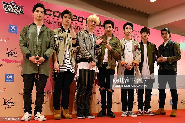 KPop group GOT7 members pose during a press conference prior to attending the KPop stage 'M Countdown' at the KCON 2015 Japan in the Saitama Super...