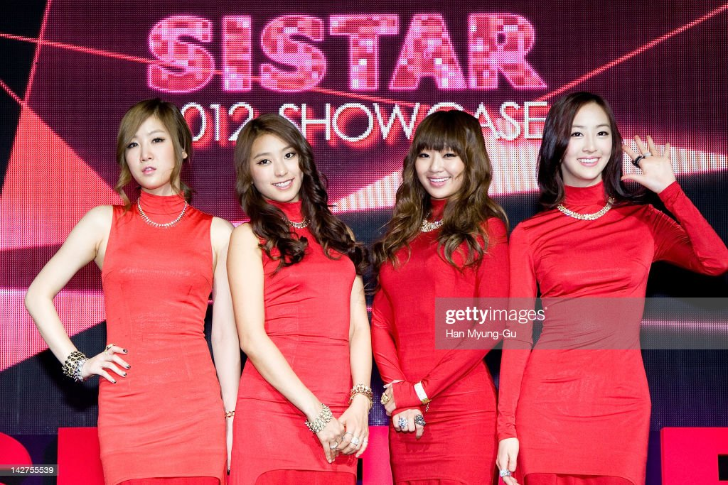 KPop idol girl group Soyou and Bora and Hyorin and Dasom of SISTAR poses for media during their 1st Mini Album [Alone] showcase at ilchi Art Hall on...