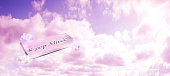 K-Pop music sign with pink sky theme background texture, space for text, colorful