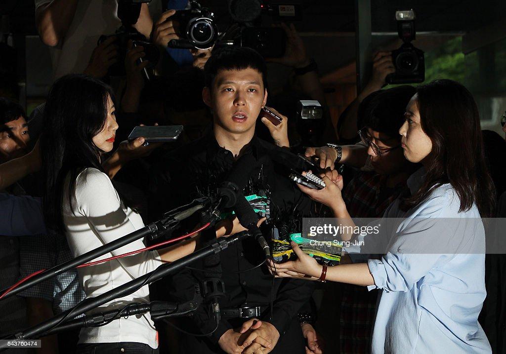 Kpop Star Park YooChun arrives at the Gangnam Police Station on June 30 2016 in Seoul South Korea Park Yoochun a member of popular Kpop boy band JYJ...