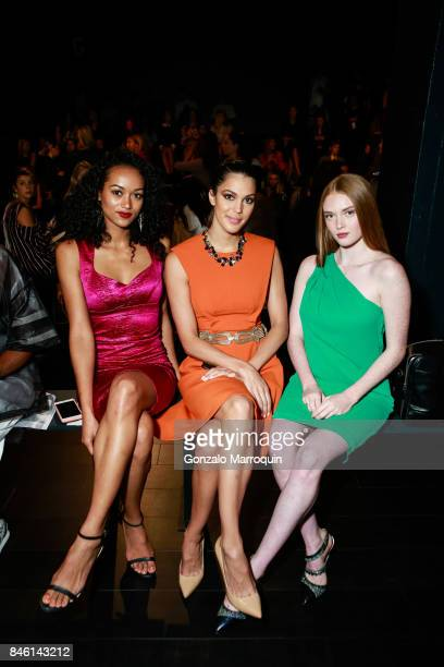 Kra McCullough Iris Mittenaere and Larsen Thompson attend the Badgley Mischka fashion show September 2017 for New York Fashion Week The Shows at...