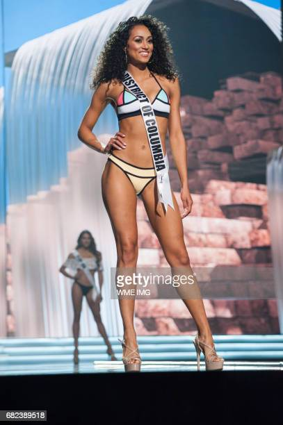 Kára McCullough Miss District Of Columbia USA 2017 competes on stage in Yandy Swim during the MISS USA® Preliminary Competition at Mandalay Bay...