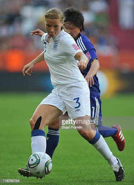 KRachel Unitt of England is challenged by Shinobu Ohno of Japan during the FIFA Women's World Cup 2011 group B match between England and Japan at the...
