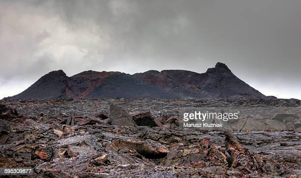 Krafla volcano and barren lava landscape