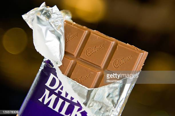 A Kraft Foods Inc Cadbury chocolate bar is arranged for a photograph in San Francisco California US on Thursday Aug 4 2011 Kraft the world's...