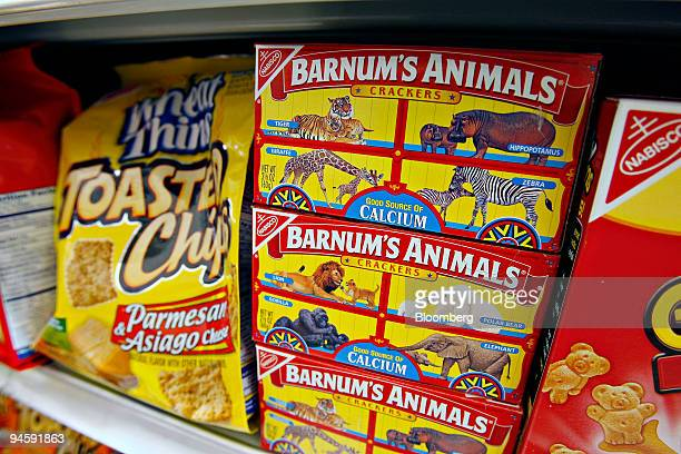 Kraft Foods Inc's Nabisco brand Barnum's Animals crackers sit on display in a supermarket in New York Tuesday July 3 2007 Kraft Foods Inc the world's...