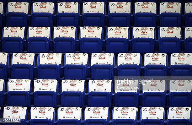 Kraft Hockeyville USA towes arel seen on seats before the preseason game between the Tampa Bay Lightning and the Pittsburgh Penguins on September 29...
