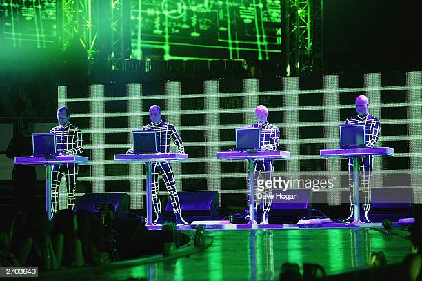 Kraftwerk rehearses for the MTV Europe Music Awards 2003 on November 6 2003 in Edinburgh Scotland