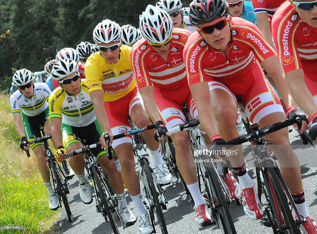 A. Kragh Andersen (C) of Denmark during Stage Two of the Tour de l'Avenir on August 25, 2014 in Brioude, France.