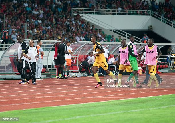 Krahire Yannick Zakri of ASEC celebrates after scoring during the Group A match of CAF Champions League between Wydad Casablanca and ASEC at the...