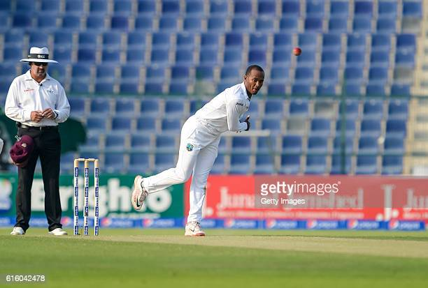 Kraigg Brathwaite bowls during Day One of the Second Test between Pakistan and the West Indies at the Zayed Cricket Stadium on October 21 2016 in Abu...