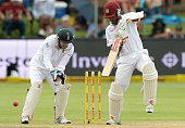 Kraigg Brathwaite drives during day 3 of the 2nd Test match between South Africa and West Indies at St Georges Park on December 28 2014 in Port...