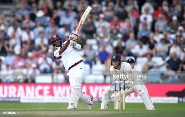 Kraigg Brathwaite of England hits out for six runs to reach his century during day two of the 2nd Investec Test between England and the West Indies...