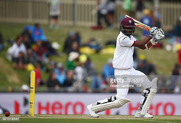 Kraigg Brathwaite of the West Indies bats during day three of the First Test match between Australia and the West Indies at Blundstone Arena on...
