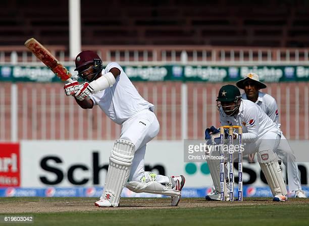 Kraigg Brathwaite of the West Indies bats on day three of the third test between Pakistan and West Indies at Sharjah Cricket Stadium on November 1...
