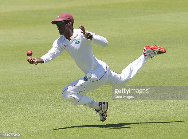 Kraigg Brathwaite of the West Indies dives towards the ball during day 5 of the 3rd Test between South Africa and West Indies at Sahara Park Newlands...