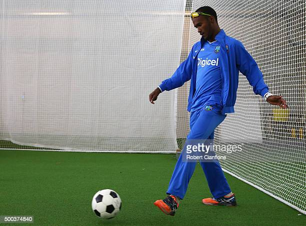 Kraigg Brathwaite of the West Indies warms up during a West Indies training session at Blundstone Arena on December 8 2015 in Hobart Australia