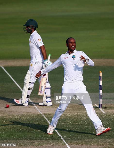 Kraigg Brathwaite of West Indies appeals for the wicket of Sami Aslam of Pakistan during Day Three of the Second Test between Pakistan and West...