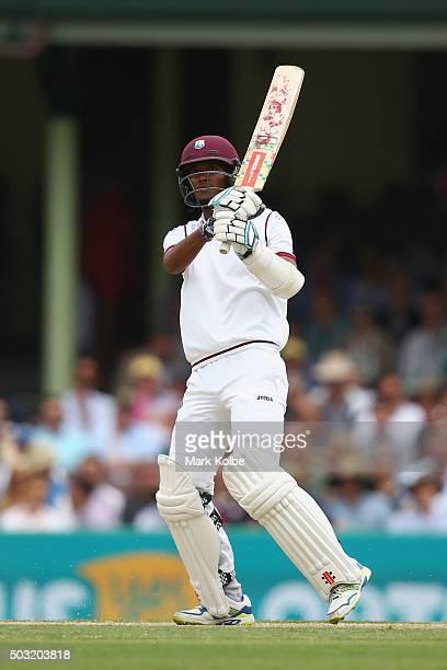 Kraigg Brathwaite of West Indies bats during day one of the third Test match between Australia and the West Indies at Sydney Cricket Ground on...