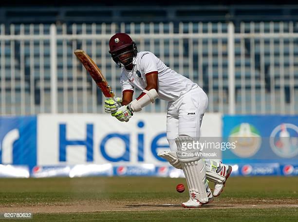 Kraigg Brathwaite of West Indies bats on day five of the third test between Pakistan and West Indies at Sharjah Cricket Stadium on November 3 2016 in...