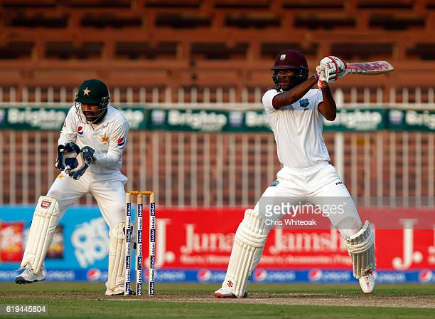 Kraigg Brathwaite of West Indies bats on day two of the third test between Pakistan and West Indies at Sharjah Cricket Stadium on October 31 2016 in...