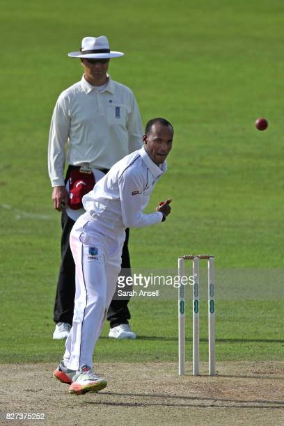 Kraigg Brathwaite of West Indies bowls during day two of the tour match between Kent and West Indies at The Spitfire Ground on August 7 2017 in...