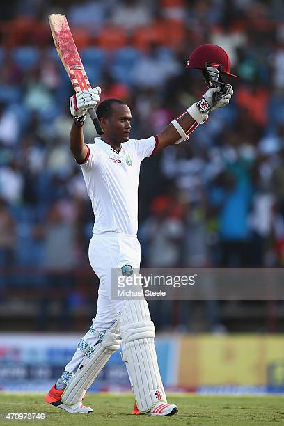 Kraigg Brathwaite of West Indies celebrates reaching his century during day four of the 2nd Test match between West Indies and England at the...