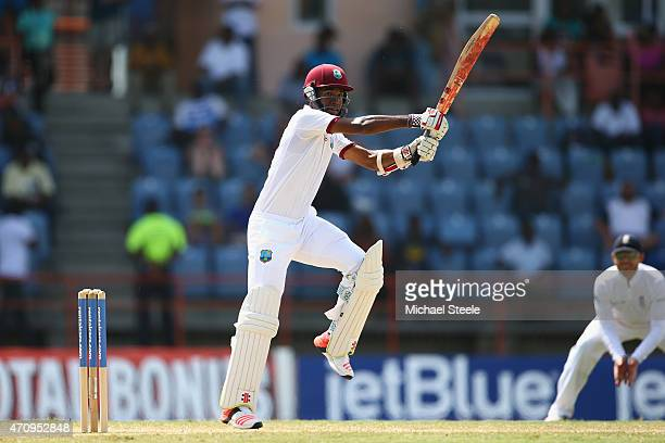 Kraigg Brathwaite of West Indies cuts a delivery from Chris Jordan of England during day four of the 2nd Test match between West Indies and England...