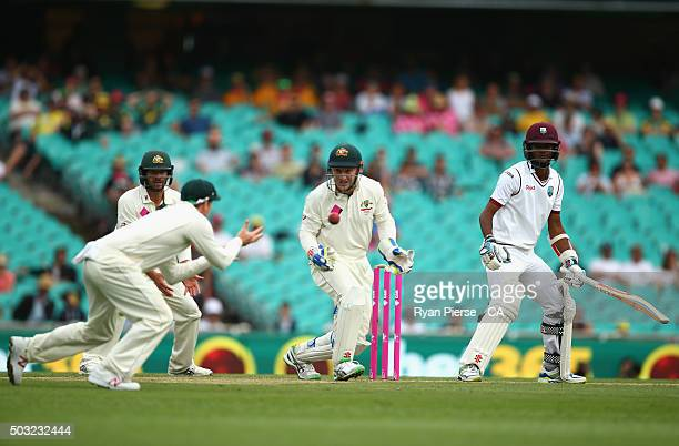Kraigg Brathwaite of West Indies is cught by Steve Smith of Australia off the bowling of Nathan Lyon of Australia during day one of the third Test...