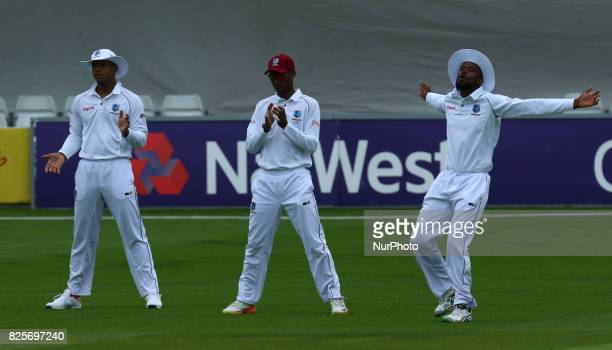 LR Kraigg Brathwaite of West Indies Kieran Powell of West Indies and Kyle Hope of West Indies during the Domestic First Class Multi Day match between...