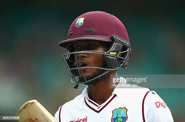Kraigg Brathwaite of West Indies looks dejected after being dismissed by Nathan Lyon of Australia during day one of the third Test match between...