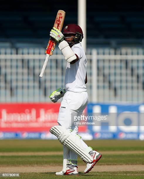Kraigg Brathwaite of West Indies makes 50 on day five of the third test between Pakistan and West Indies at Sharjah Cricket Stadium on November 3...