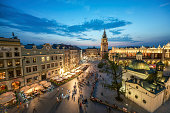 A view of the market square in Krakow at sunset