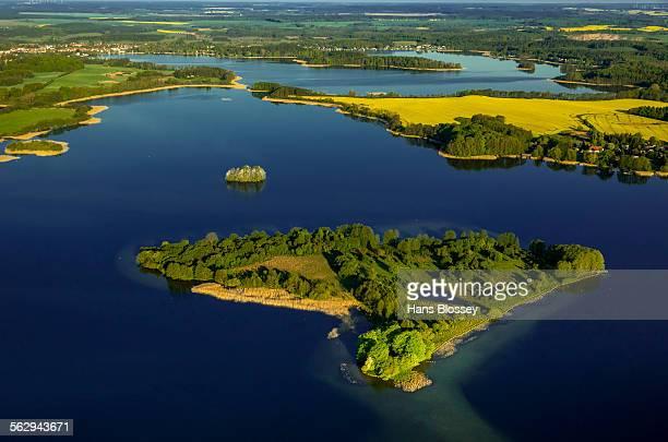 Krakower Seenlandschaft with Liepse Island, lakeland nature reserve, Kuchelmiss, Mecklenburg Lake District, Mecklenburg-Western Pomerania, Germany