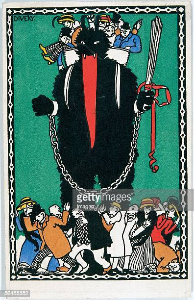 Krampus Figure Felicitation Card Postcard by the Viennese Werkstaette Number 247 Colour Lithography by Josef von Diveky Around 1910 [KrampusFigur...