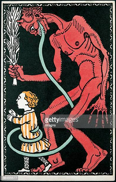 Krampus Greeting card Postcard by the Viennese Werkstaette Number 542 Colour Lithography 14 9 cm Around 1911 [Krampus Wunschkarte Wiener...