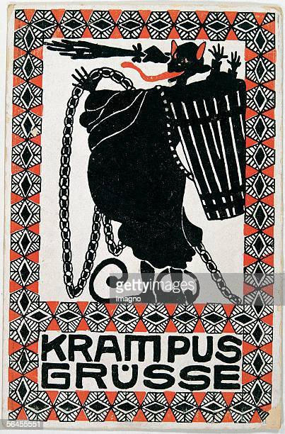 Krampus Greetings Felicitation Card Postcard by the Viennese Werkstaette Number 188 Colour Lithography around 1908 [Krampus Gruesse Wunschkarte...