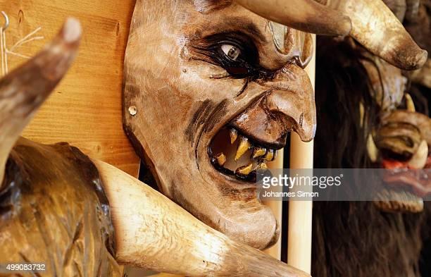 Krampus or devil's masks are displayed in the workshop of woodcarver Richard Kranawetvogl on November 28 2015 in Marktschellenberg Germany...