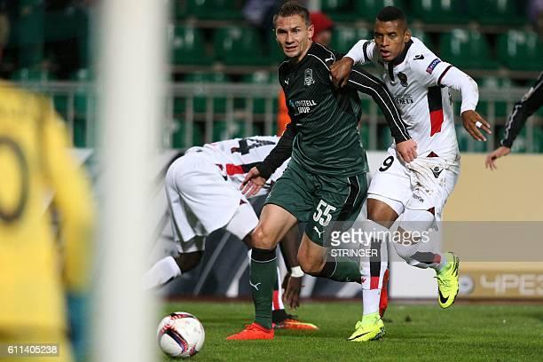Krasnodar's Polish defender Artur Jedrzejczyk vies Nice's Brazilian defender Dalbert Henrique during the UEFA Europa League group I football match...