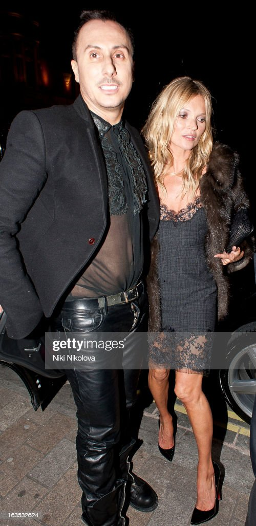 Kérastase's artistic director and studio hairdresser Luigi Murenu and Kate Moss sighting on March 11 2013 in London England