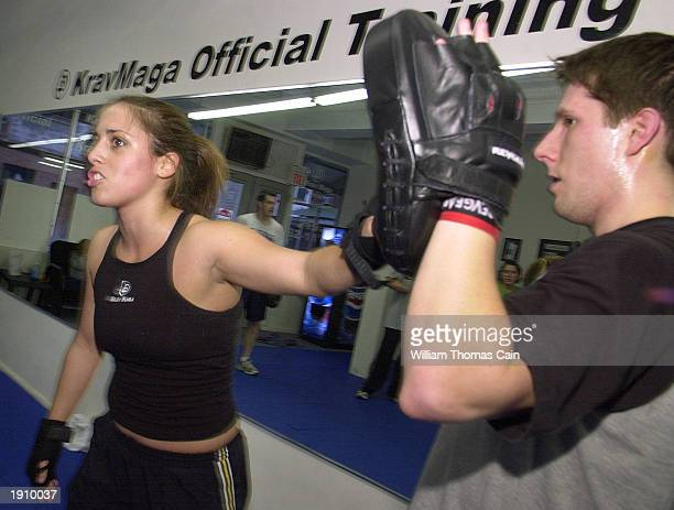 Krav Maga instructor Greta Hotmer instructs her students in a Krav Maga class April 9 2003 in Philadelphia Pennsylvania With the US at high terror...