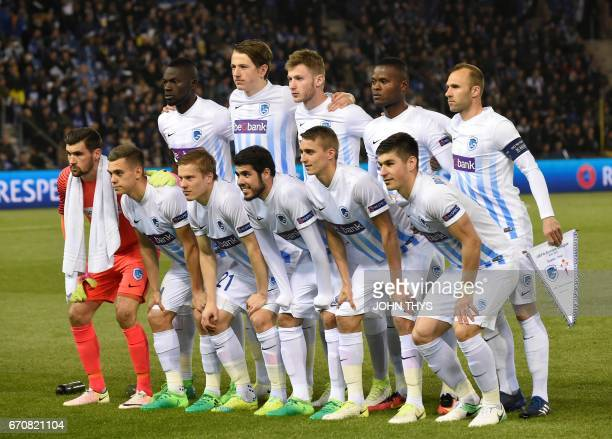 Krc Genk team players pose during the UEFA Europa League quarter final match between KRC Genk and Celta Vigo at the Fenix Stadium in Genk on April 20...