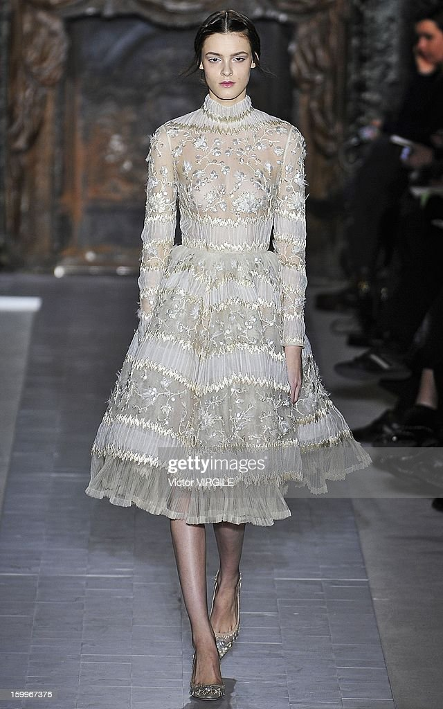 Kremi Otashliyska walks the runway during the Valentino Spring/Summer 2013 Haute-Couture show as part of Paris Fashion Week at Hotel Salomon de Rothschild on January 23, 2013 in Paris, France.