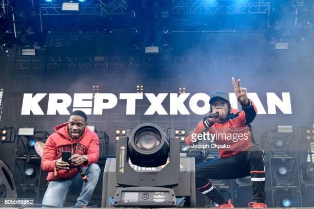 Krept and Konan perform on stage at Roskilde Festival on July 1 2017 in Roskilde Denmark